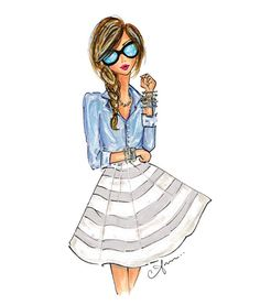 Fashion Illustration Print Chambray and Stripes by anumt on Etsy