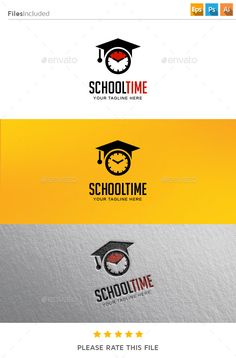 School Time Logo Template #design #logotype Download: http://graphicriver.net/item/school-time-logo/11288923?ref=ksioks