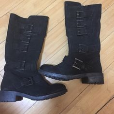 "Mia buckle zip up black boots 7 soft Mia buckle zip up black boots 7 soft shaft, brass buckles (approx 1.5"" heal) MIA Shoes Ankle Boots & Booties"
