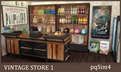 Vintage Store Part 1. The Sims 4 Custom Content. The Sims, Sims 4 Custom Content, Liquor Cabinet, Helpful Hints, Store, Vintage, Home Decor, Tips, Art