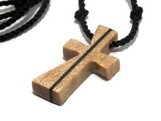 Wooden Carved Cross Necklace in Maple & Ebony by TheLotusShop