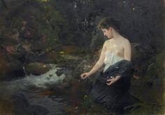 """""""Junges Mädchen am Bach"""" (1906) von Albert Ritzberger (geboren am 20. Mai 1853 in Pfaffstätt, gestorben am 8. November 1915 in Linz), österreichischer Zeichner und Maler."""