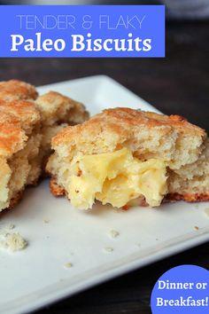 You'll be surpriesed how amazing a grain free biscuit can taste! They make bomber egg sandwiches too! Paleo Biscuits, Flaky Biscuits, Paleo Breakfast, Breakfast Recipes, Low Sugar Banana Bread, Baking Recipes, Whole Food Recipes, Gluten Free Recipes, Healthy Recipes