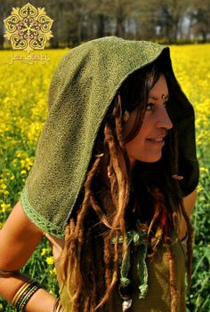 Magic fairy elf forest hood in soft green and olive green