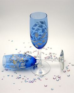 Pair of Cobalt Champagne Flutes hand painted with floating white leaves tipped in gold and subtly placed pearls  ~SOLD~