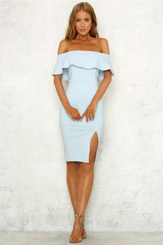 Mojitos At Midnight Midi Dress Ice Blue