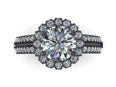 14k Black Gold Engagement Ring Round 7mm Charles & Colvard Forever Brilliant Moissanite Center Diamond Halo Double Shank Ring Custom - V1138 by JewelryArtworkByVick on Etsy