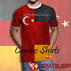 Combo Flagshirt Turkey Germany T-Shirt for Multinational People Germany, Flag, People, Cotton, Mens Tops, T Shirt, Clothes, Unitards, Tall Clothing