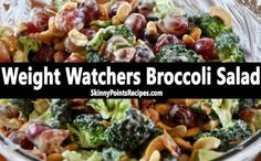 WW Broccoli Salad → Ingredients 4 cups small broccoli florets (about 1 1/2 pounds) 1 1/2 cups seedless green grapes, halved 1 cup chopped celery 1 cup raisins 1/4 cup salted sunflower seed kernels 1/3 cup light mayonnaise 1/4 cup plain fat-free yogurt 3 tablespoons sugar 1 tablespoon white vinegar…