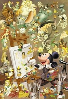 Its funny becuase Walt Disney is the original voice of Mickey and Mickey is making everything
