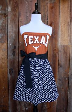 University of Texas Longhorns Game Day Dress. Would love this is New York giants or lake George warriors!! Follow me for lots of cool ideas, styles, and a lot of funny pins!