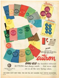 AUSTRALIAN Vintage Advertising BEUTRON BUTTONS SEW RETRO AD 1950 s Original Ad