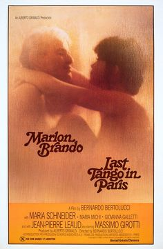 Marlon Brando in 'Last Tango in Paris', 1972 - Directed by Bernardo Bertolucci and co-starring Maria Schneider. Marlon Brando, Maria Schneider, Great Films, Good Movies, Jean Pierre Leaud, Paris Movie, Cinema Posters, Movie Posters, Last Tango In Paris