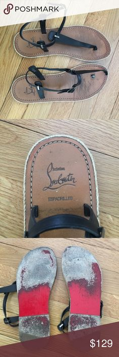 AUTHENTIC Christian Louboutin espadrille sandals Black leather flat sandal with espadrille detail. Lovingly worn but still have life! The toe strap on one sandal is broken but could be repaired by a cobbler. Otherwise they are in great shape and an asset for summer! Christian Louboutin Shoes Sandals