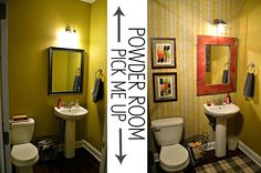Powder Room updated with super-simple DIYS Barnwood mirror, stenciled wall, industrial light fixtures.
