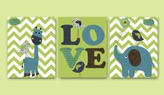 Elephant Giraffe Baby Boy Nursery art print Childrens Wall Art Baby Room Decor Kids Print set of 3 8 x 10 elephant giraffe green blue love on Etsy, $42.00