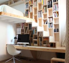 Brillant design, great for a #TinyHouse  -16 Innovative Ways to Line Your Stairs with Bookshelves