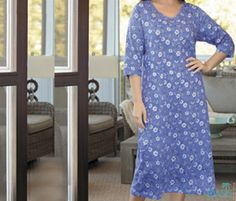 Get Long Floral Blue Sleep Tee from Oasis Plus Size, wholesaler of plus size sexy sleepwear in USA.