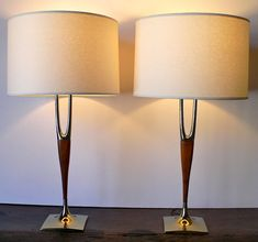 2 Mid Century Lamps LAUREL Wishbone Brass & Walnut - Danish Modern - Set of 2 - MCM Era