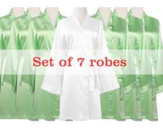 Satin1 Kimono Robe Satin Japanese Kimono Bathrobe by MilkRobe
