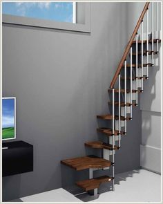 Buy online from Spiral Stairs Direct. UK stockists of loft stairs, spiral staircase kits, modular staircases & space saver stairs. Space Saver Staircase, Loft Staircase, Attic Stairs, Staircase Design, Stair Design, Spiral Staircases, Small Staircase, Staircase Ideas, Attic Ladder