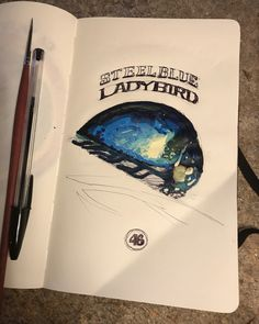 Feeling very blue tonight. Exile sketchbook - day 46 Ball pen and acrylic work on Inspired by a Steelblue Ladybird Moleskine, Photo And Video, Inspired, Feelings, Videos, Day, Blue, Inspiration, Instagram