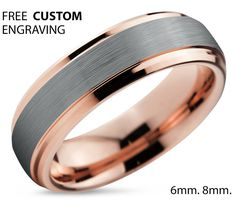 Tungsten Ring Rose Gold Wedding Band Ring Tungsten Carbide 6mm 18K Tungsten Ring Man Wedding Band Male Women Anniversary Matching by BellyssaJewelry on Etsy