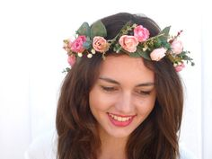 Pink roses Flower Crown Floral Headbandwedding by BlackSwanFeather Floral Headband Wedding, Floral Headbands, White Roses, Pink Roses, Pink Rose Flower, Small Rose, Flower Crowns, Pink Hair, Headpiece