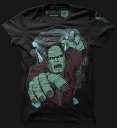 Frankenstein's monster is one of the most classic tales of horror to be told. This electrifying shirt tells of the monster's escape from the laboratory in his conquest to reign havoc on mankind.    Glows in the Dark!    Tagless and printed on American Apparel.