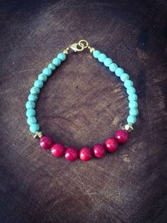 Bamboo coral and turquoise bracelet with 14K lobster clasp.
