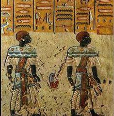 Nubian Egypt | Two Nubians (ambassadors I think). Nubian archers, From the tomb of ...