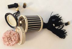 Unusual Tube Shaped Rhinestoned Carved Celluloid Compact Purse 1920s   eBay