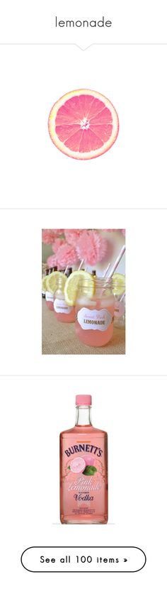 """""""lemonade"""" by darlingchick ❤ liked on Polyvore featuring food, fillers, circles, pink, backgrounds, embellishment, round, circular, effects and text"""