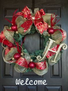 Gold and Red Christmas Wreath.