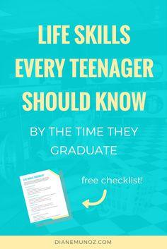 Life skills for teens high schools, life skills for teens free printable, life skills teens high schools, life skills teens should know