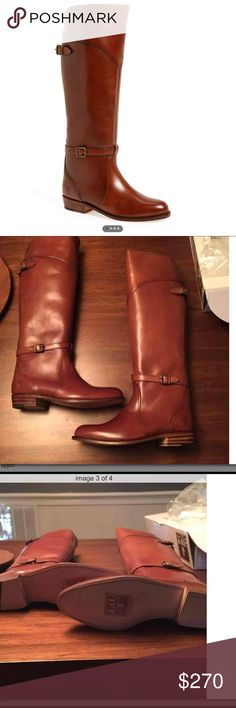 """NWT Frye Dorado Boots in Whiskey **BRAND NEW WITH TAGS*   Equestrian style Frye riding boot made in polished vegetable tanned genuine leather. Slim brass buckle straps. Currently selling at Nordstrom for $455.  Smooth polished genuine leather upper Leather lined Leather outsole Goodyear welt construction Made in Spain Size and Fit  Size 9.5 16 1/2"""" shaft height 15"""" shaft circumference 1"""" heel Frye Shoes"""