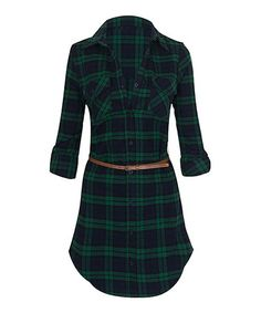 Look what I found on #zulily! Green & Navy Long-Sleeve Belted Flannel Dress #zulilyfinds