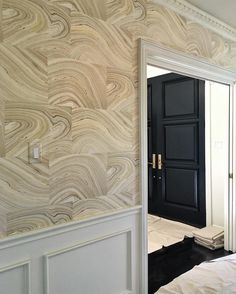 Wallpaper installation today in our client's dining room... You guys this home is killer!