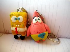 spongebob and patrick  fimo sculpey polymer clay
