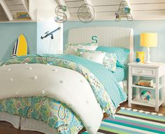 Sky Blue and Flower Bed Sheet for Teen Girls Bedroom