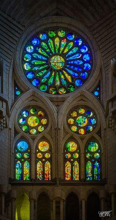 Rose Window. La Sagrada Familia. Antoni Gaudi. Barcelona, Spain. Gaudi started work on the project in 1883. Building still under construction. Estimated completion 2026.