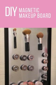 If you're ready to clear the clutter from your bathroom counters, this DIY is just what you need! We've got an easy tutorial on how to make a magnetic makeup board that will keep things organized and in plain sight! Makeup Pots, Diy Makeup, Insta Makeup, Makeup Storage, Makeup Organization, Magnetic Makeup Frame, Home Design, Circle Magnets, Large Picture Frames