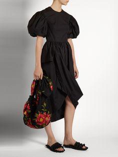 Puff-sleeved draped cotton-poplin dress | Simone Rocha | MATCHESFASHION.COM US