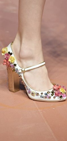 Even the Mary Jane shoes at Dolce & Gabbana had floral appliqués!