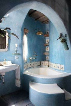 Home Interior Design — Bathroom in a Mykonos house - All About Decoration Dream Bathrooms, Beautiful Bathrooms, Retro Bathrooms, White Bathrooms, Luxury Bathrooms, Master Bathrooms, Bathroom Art, Bathroom Faucets, Bathroom Ideas