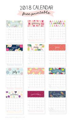 2018 vem aí: calendários para imprimir (printables/freebies)