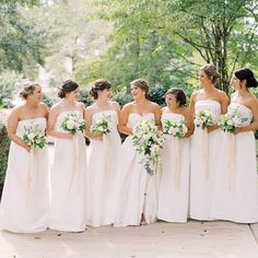All white bridesmaids' dresses at a wedding in Raleigh, North Carolina | Live View Studios