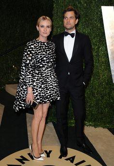 Diane Kruger in Giambattista Valli and Joshua Jackson at Vanity Fair Oscars Party 2013