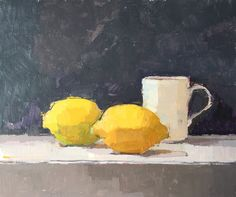 Overlap Oil on board #painting#still-life#contemporary art#lemons