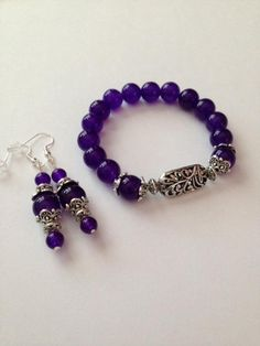 Purple and Silver Jewelry,Purple and Silver Bracelet,Purple and Silver Earrings,Purple Bracelet, Pur Purple Earrings, Silver Earrings, Silver Jewelry, Silver Ring, 925 Silver, Beaded Jewelry, Jewelry Bracelets, Jewelery, Blue Bracelets